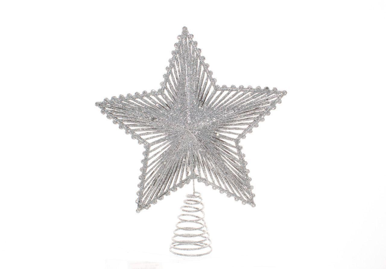 Ponteira De Árvore Estrela Natalina Prata - 24 Cm Altura