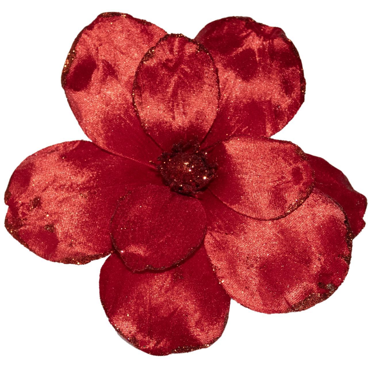 Flor Magnolia Natalina Vermelho - 52 Cm De Altura