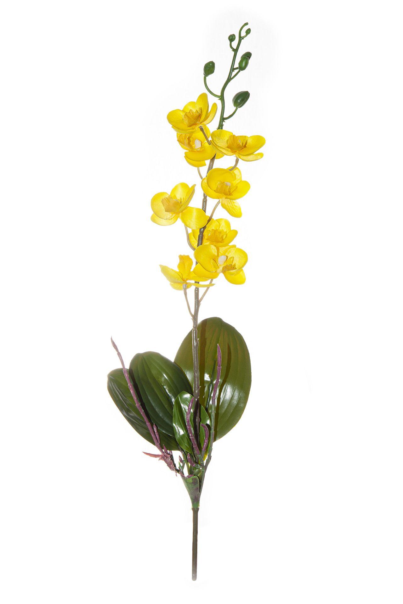 Flor De Orquídea C/Folha - X8 - 50Cm Altura
