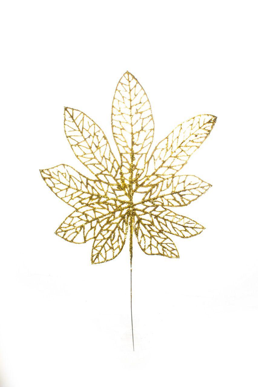 Folha Natalina Dourado - 33 Cm