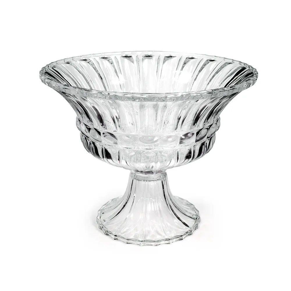 Fruteira De Vidro Cristal C/Pé- 25Cm Altura  X  31Cm Boca