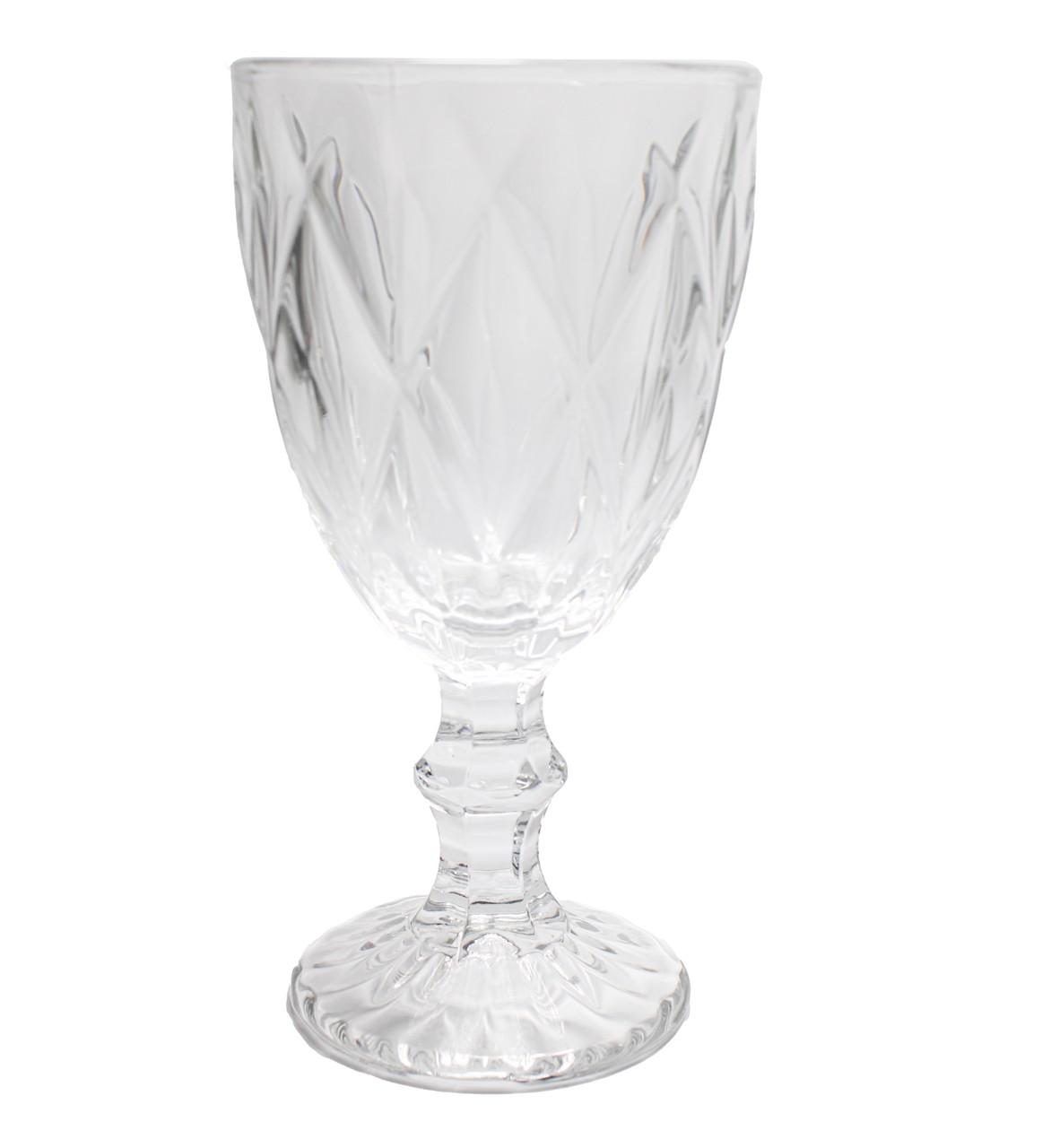Jogo Com 6 Taças De Vidro Diamante  - Água 260Ml Clear