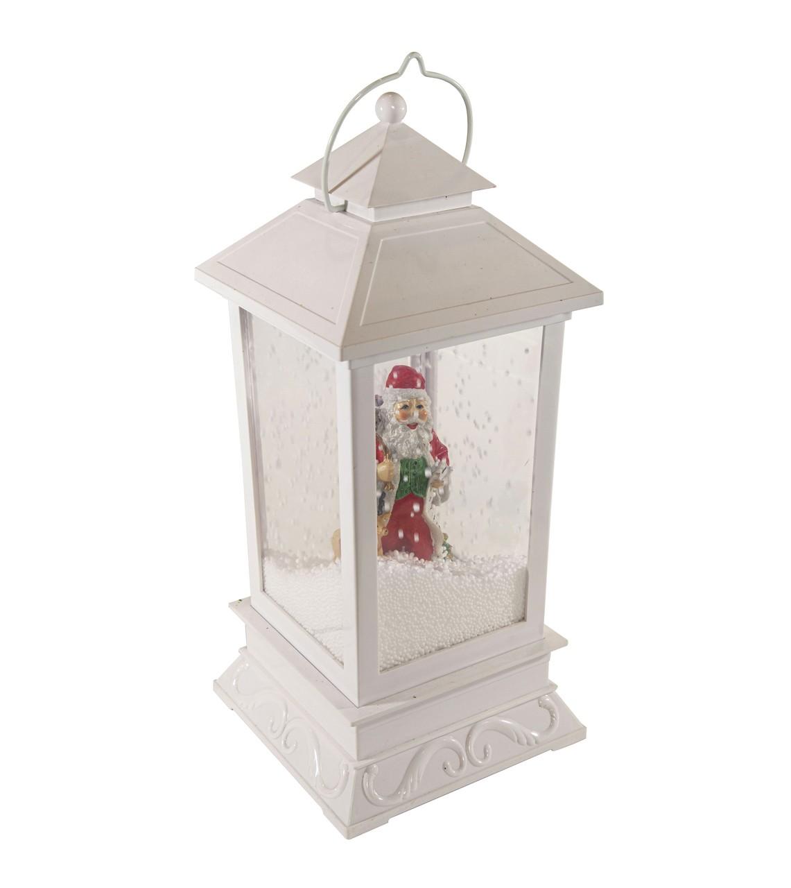 Lanterna Natalina Nevada Com Papai Noel -  Led E Som -  40Cm Altura
