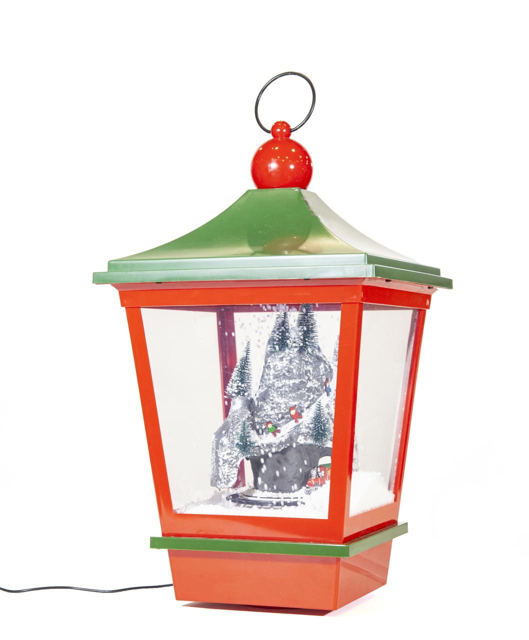 Lanterna Natalina Vermelha E Verde Com Montanha -  Led E Som -  52Cm Altura