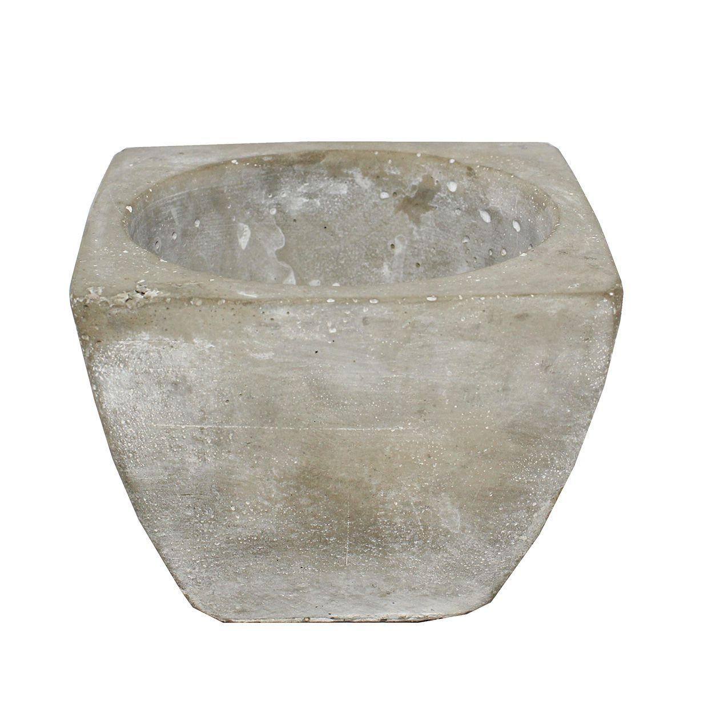 Vaso De Cimento Cônico Liso - 8Cm Altura  X 10Cm Boca