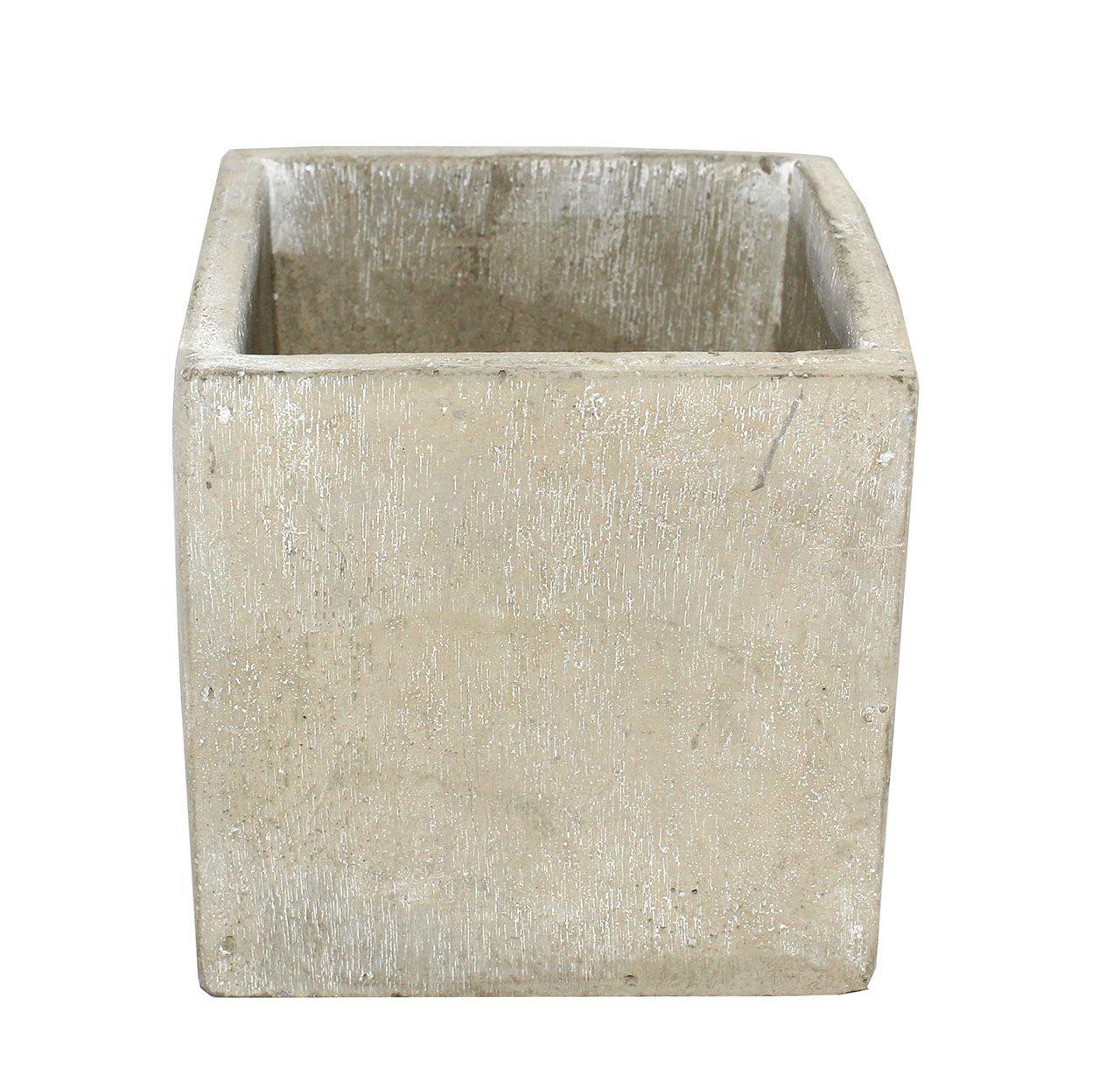 Vaso De Cimento Quadrado - 10Cm Altura X 10Cm  Boca