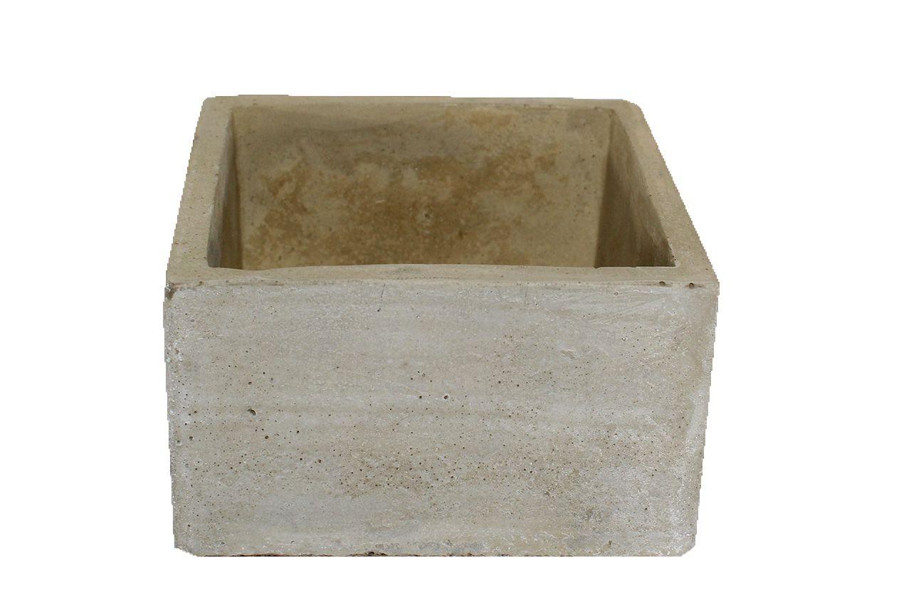 Vaso de cimento quadrado frisado - 6 cm altura X 10 cm Boca