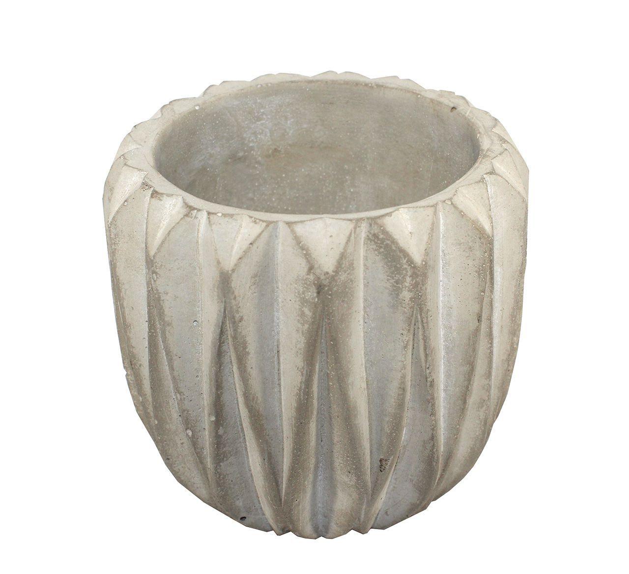 Vaso de cimento redondo frisado - 11,30 cm altura X 10cm boca
