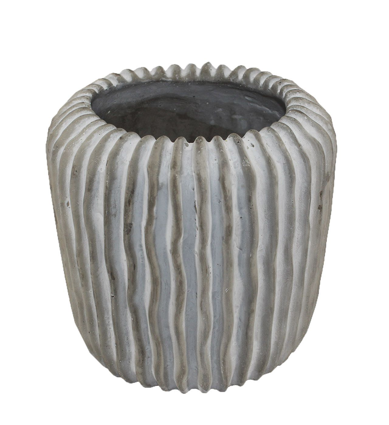 Vaso de cimento redondo frisado - 16cm altura  X 12cm boca