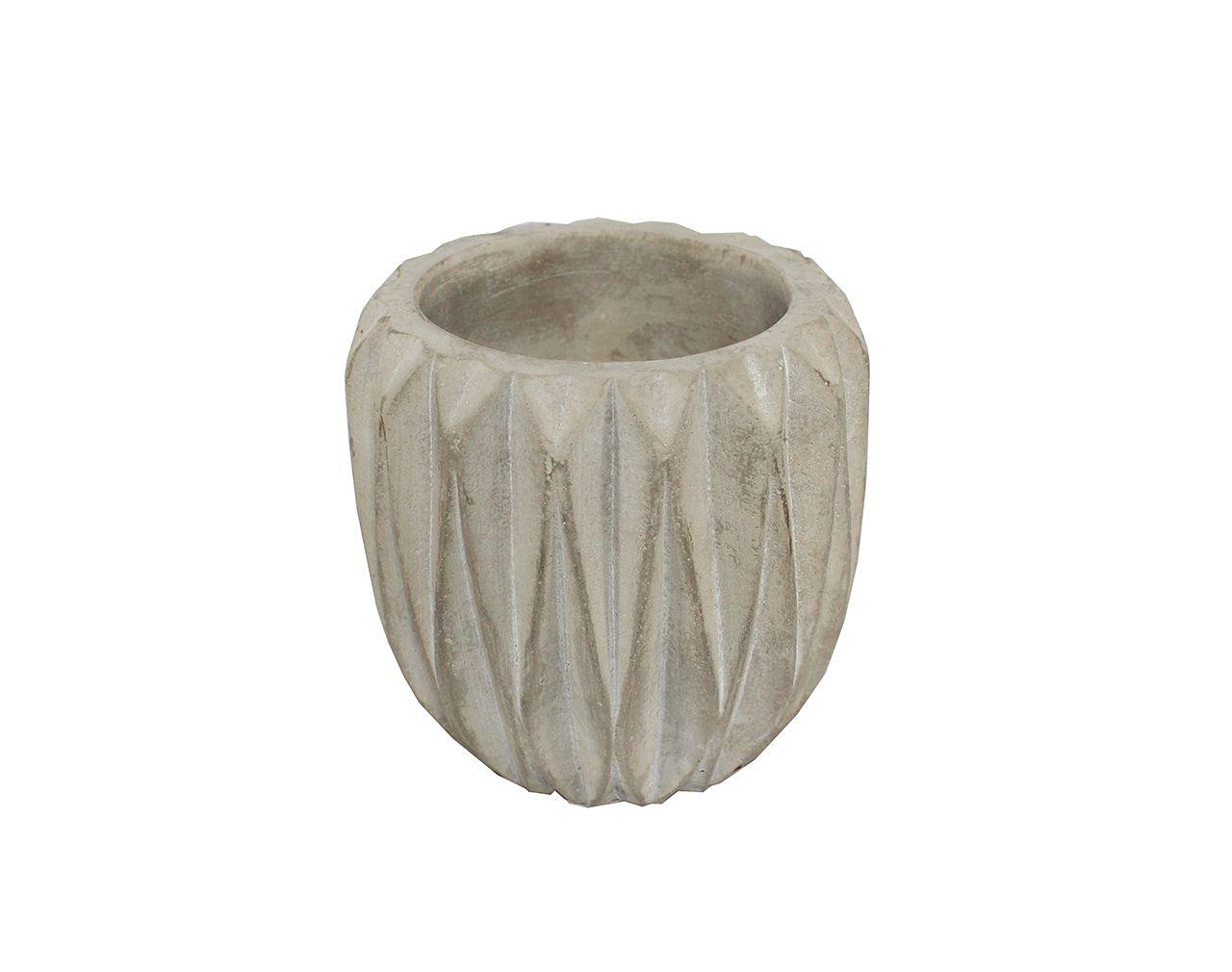 Vaso de cimento/cerâmica frisado médio - 9,30 altura x 8cm boca