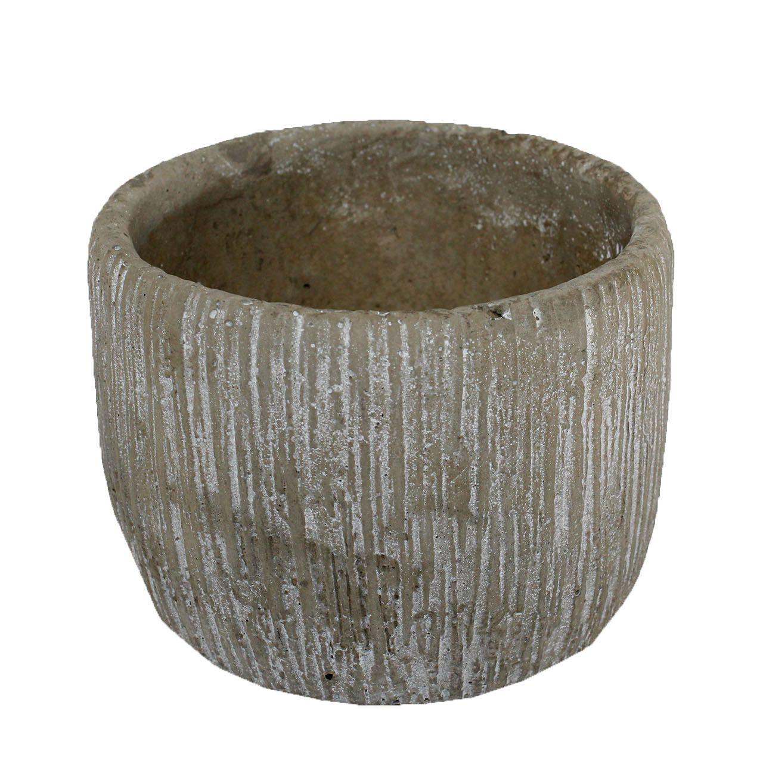 Vaso de cimento redondo mini ondulado - 9cm altura X 12cm boca