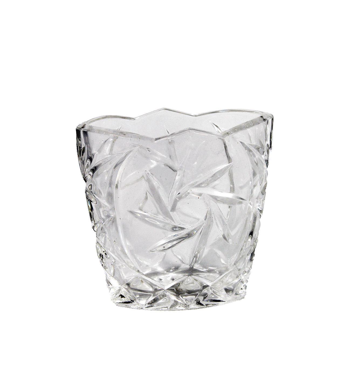 Vaso de Vidro com Relevo - 12cm Altura X 9cm Boca