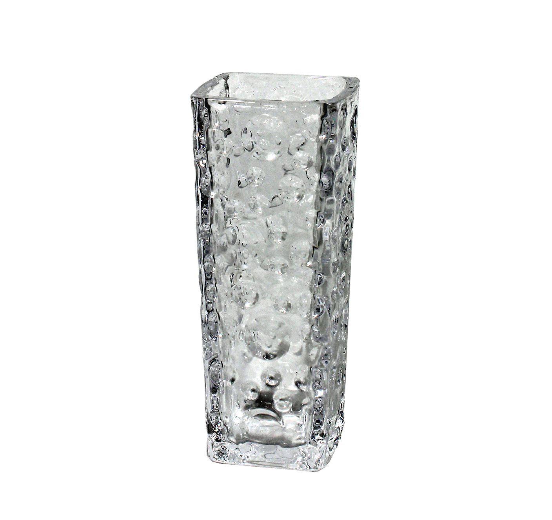 Vaso De Vidro Quadrado - 16Cm Altura X 7,30Cm Boca