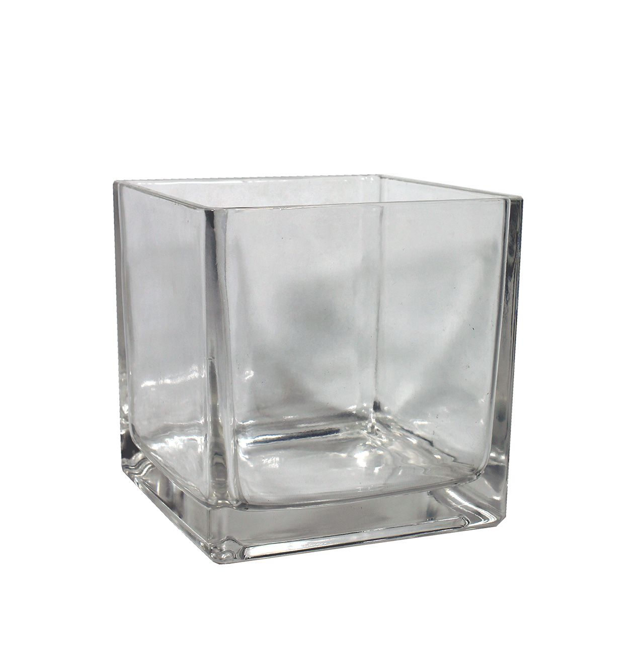 Vaso De Vidro Quadrado Grande - 18,30Cm Altura  X 16Cm Boca
