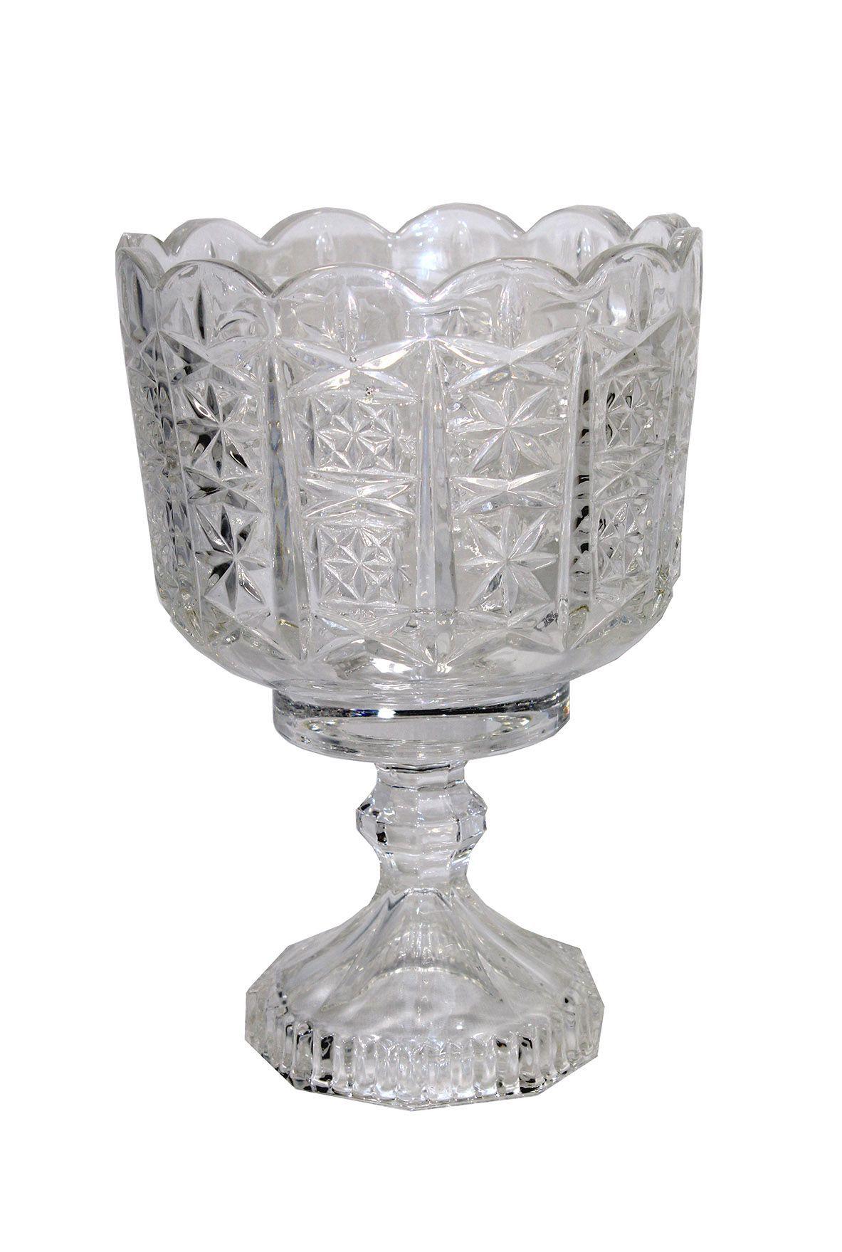 Vaso de Vidro Ondulado C/Pé -  22,30cm Altura X 10cm Boca