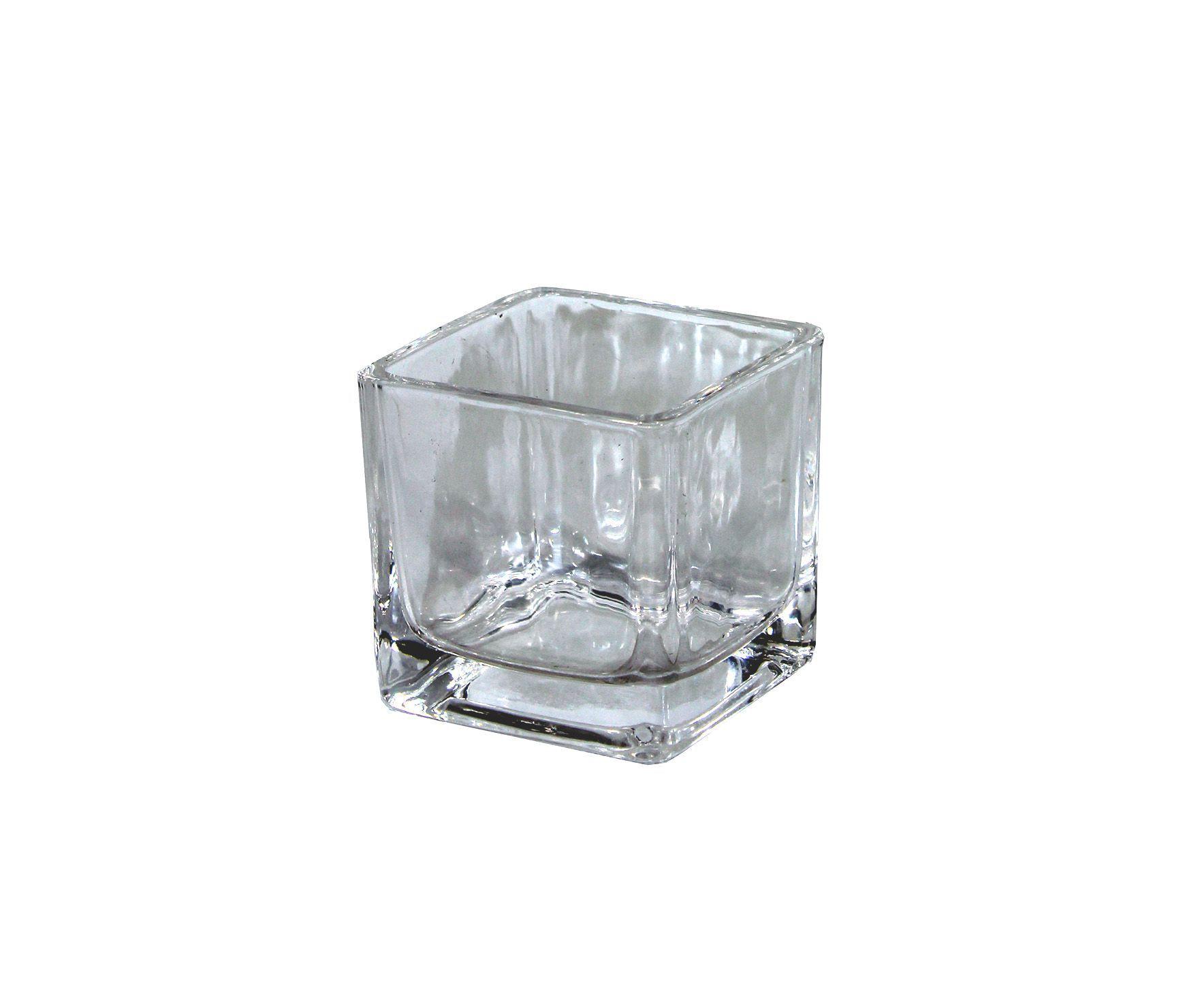 Vaso De Vidro Quadrado Pequeno - 7Cm Altura X 7Cm Boca