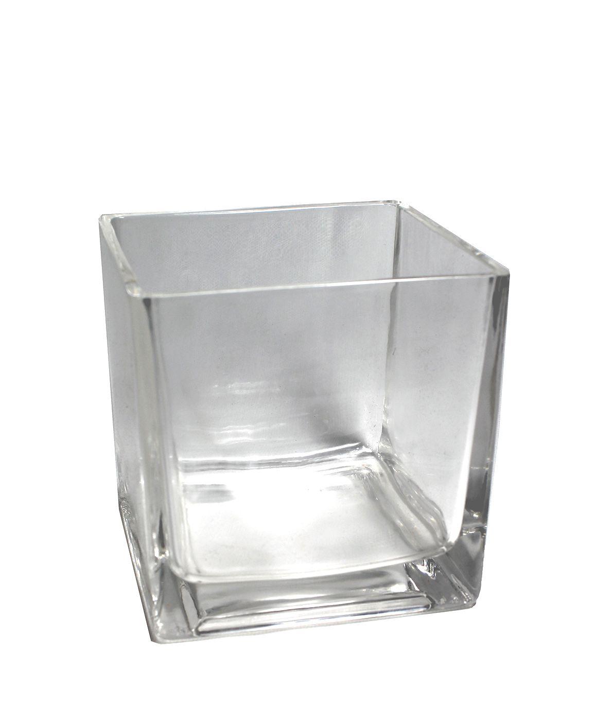 Vaso De Vidro Quadrado Médio - 15Cm  Altura X  15 Cm Boca