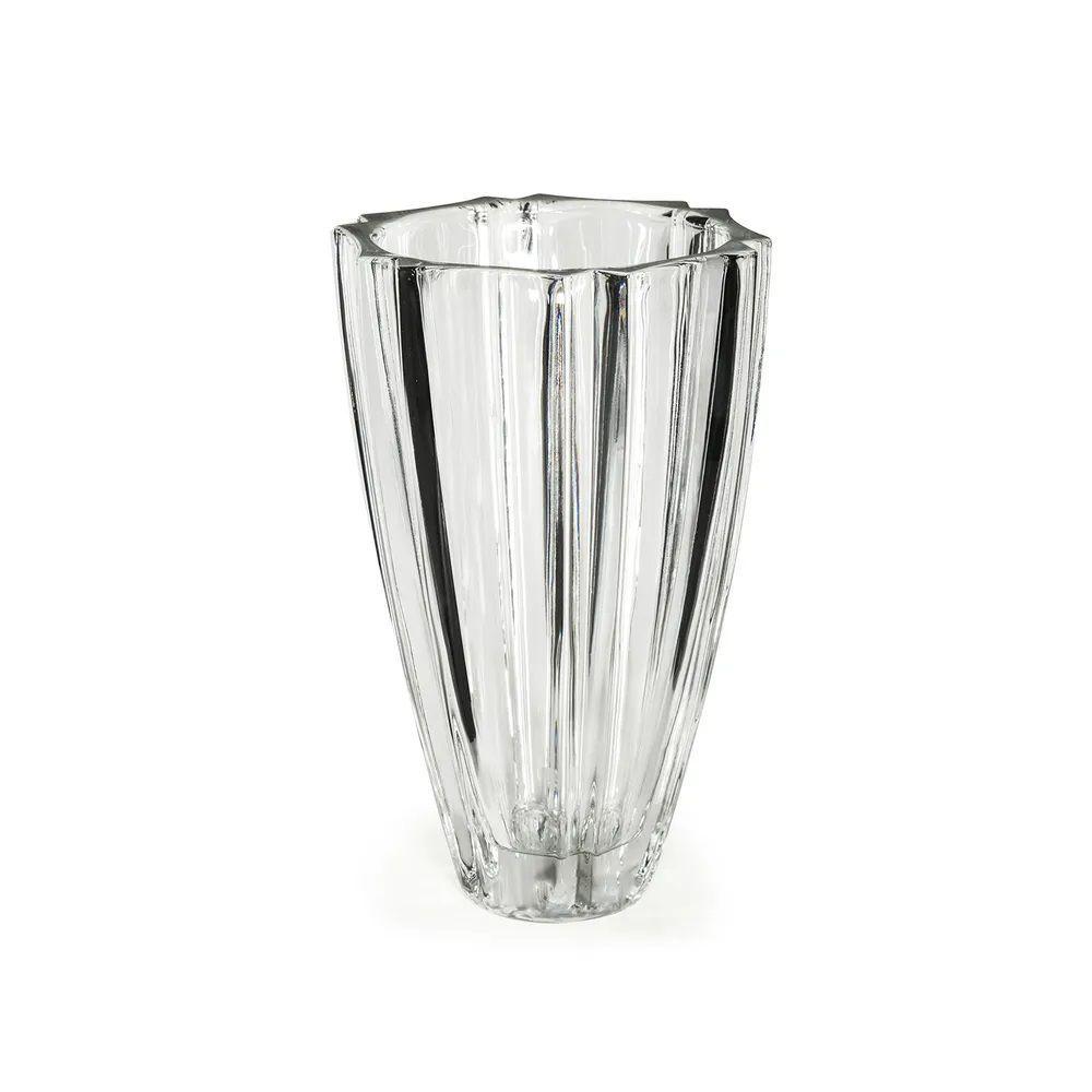 Vaso De Vidro Topázio Cristal- 23Cm Altura X 15Cm Boca