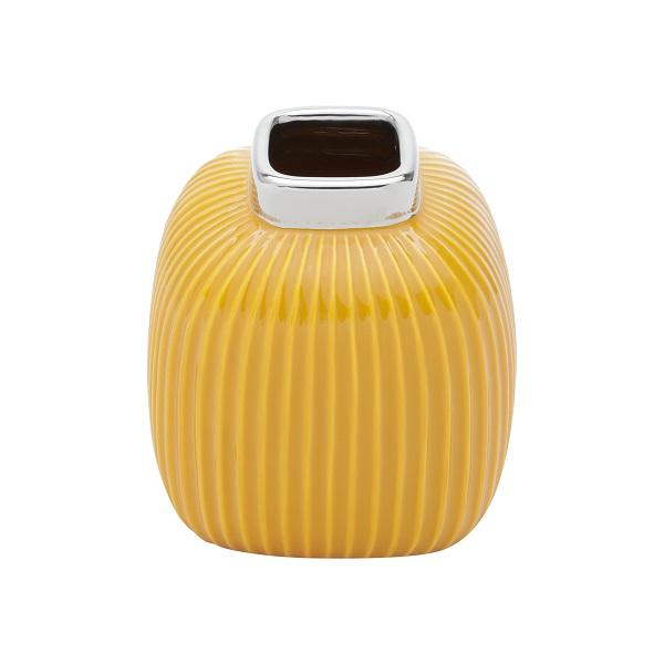 Vaso Decorativo Ceramica Amarelo 14X15Cm