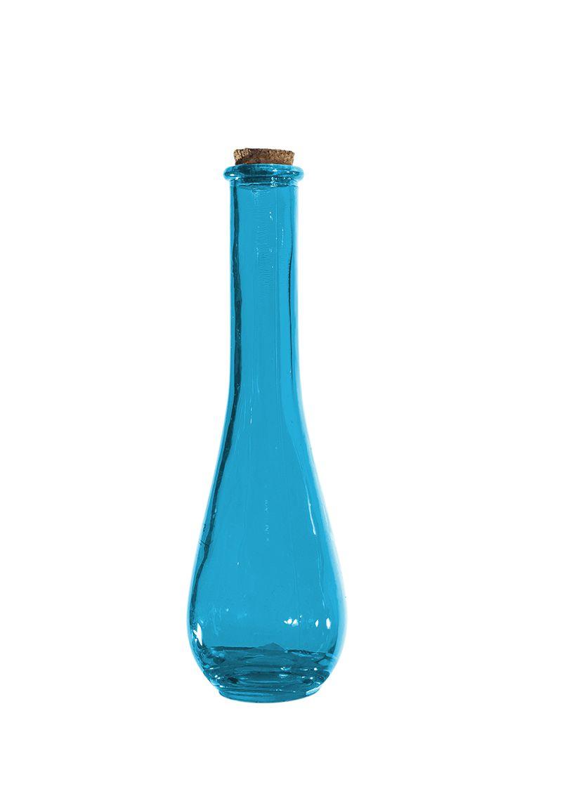 Vaso Mini Garrafa Decorativa Em Vidro - Azul, Laranja E Verde 18Cm