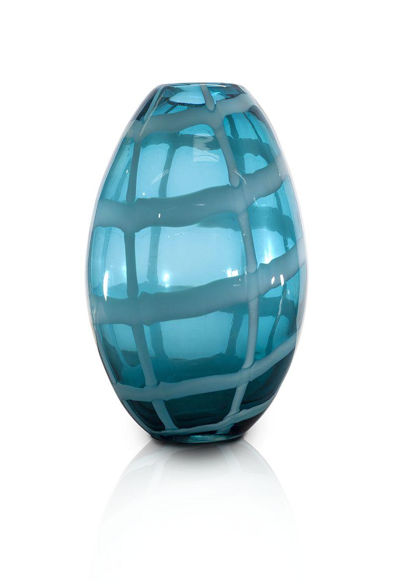 Vaso Oval De Vidro Azul 21 Cm