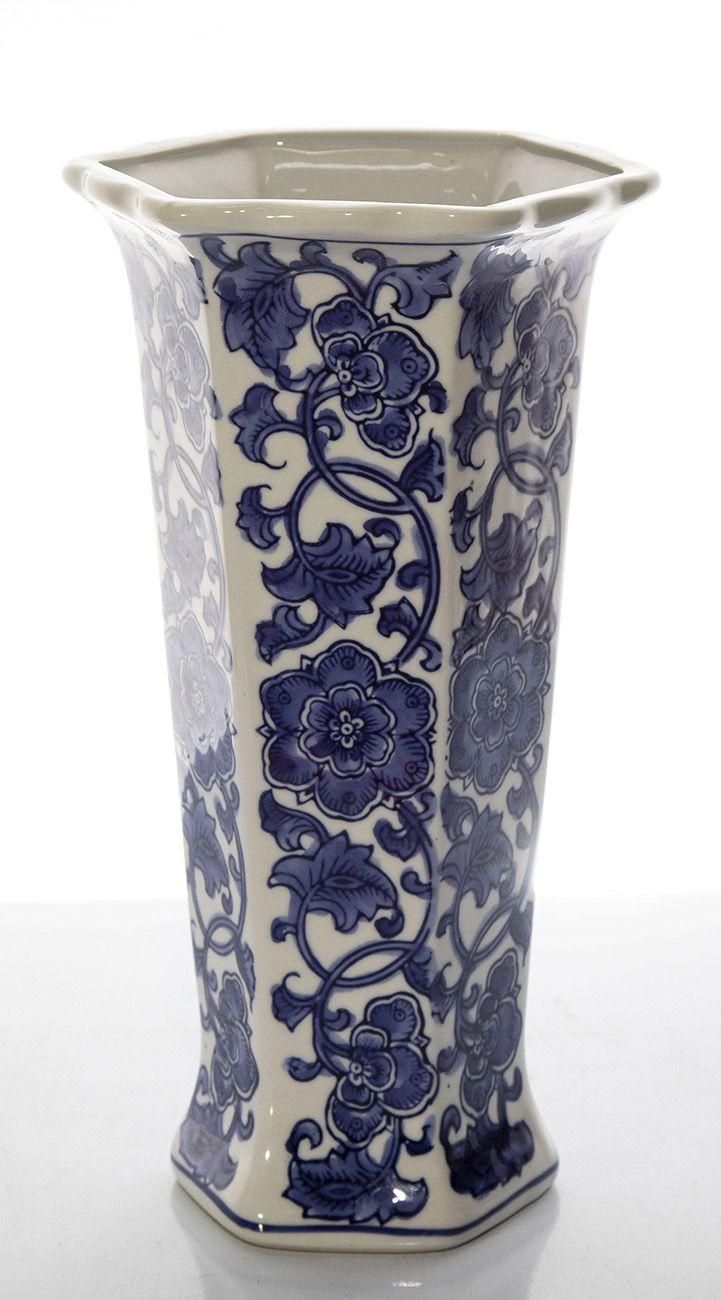 Vasos Cerâmica Azul E Branco - 31Cm