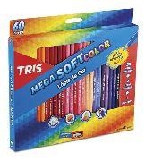 Lápis De Cor 60 Cores Tris Mega Soft Color + 1 Apontador Brinde