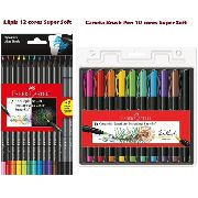 Caneta Brush 10 cores + Lápis Color 12 Cores Super Soft Faber Castell