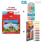 Lápis De Cor 48 Cores (24 Faber Castell + 12 Tons de Pele Tris + 12 Tons Pastel Cis)
