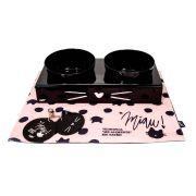 Kit Comedouro Pet Gatos Miau Uatt 28026 com tapete e suporte
