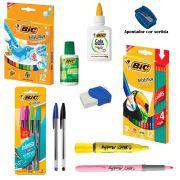 Kit Escolar Bic com 15 itens Caneta Lápis Acessórios – Escrita e Pintura