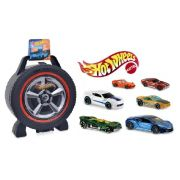 Kit Hot Wheels 6 Carrinhos + Maleta 36 lugares