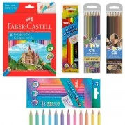 Lápis de Cor 78 Cores (48 Faber-Castell + Tris 12 Pastel + Tris 6 neon + Cis 6 Metálico + Cis 6 Pele)