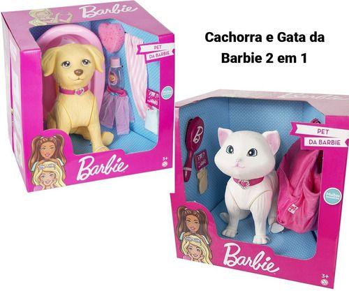 Pet Shop Barbie Cachorra + Gata Com Acessórios 25 cm Pupee