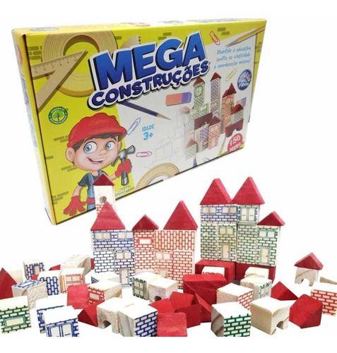 Brincando de Engenheiro Mega Construções 150 Peças Madeira 7359 Pais & Filhos