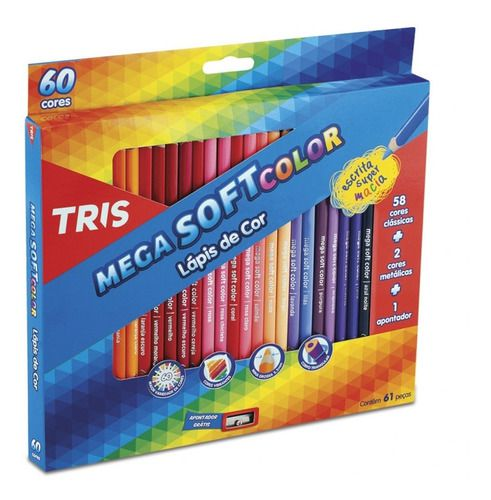 Lápis De Cor 78 cores Tris Mega Soft + Brinde (60 tradicional + 12 Tons de Pele + 6 Neon)