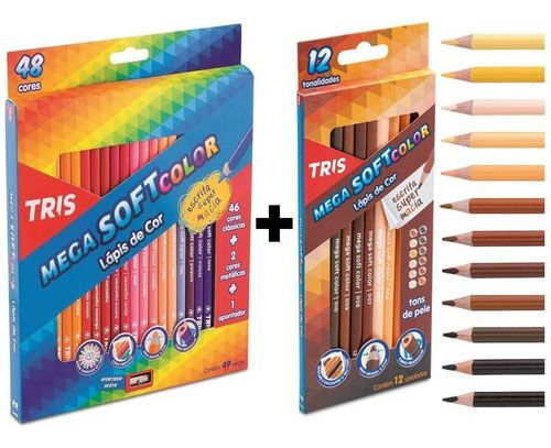 Lápis De Cor 60 Cores Tris Mega Soft Color (48 tradicional + 12 Tons De Pele)
