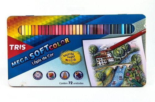 Lápis De Cor Tris 72 Cores Mega Soft Color Estojo De Lata