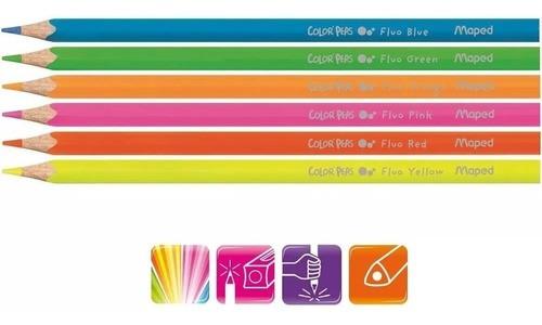 Lápis de cor 78 Cores (60 Faber Castell + 12 Pele Tris + 6 Neon Maped)