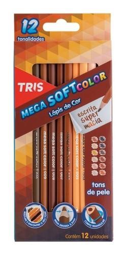 Lápis De Cor 60 Cores (36 Tris Mega Soft Color + 12 Tris Tons de Pele + 12 Cis Tons Pastel)