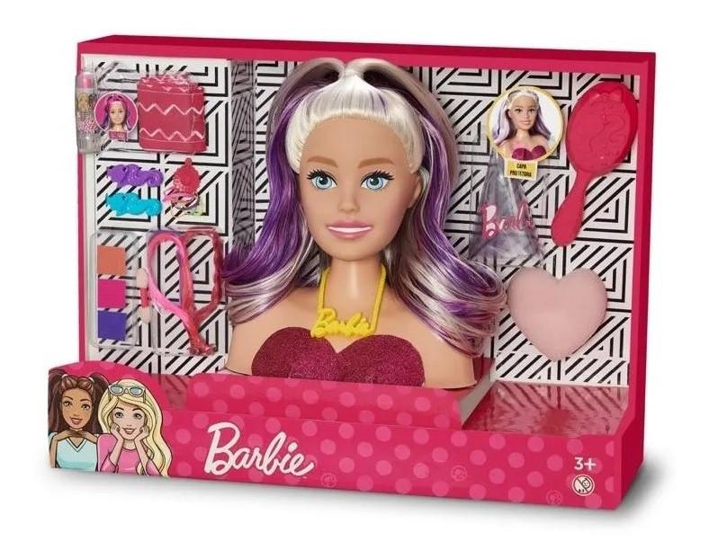 Boneca Barbie Busto Faces Maquiagem e Mechas Styling Head c/acessórios 1265 Pupee