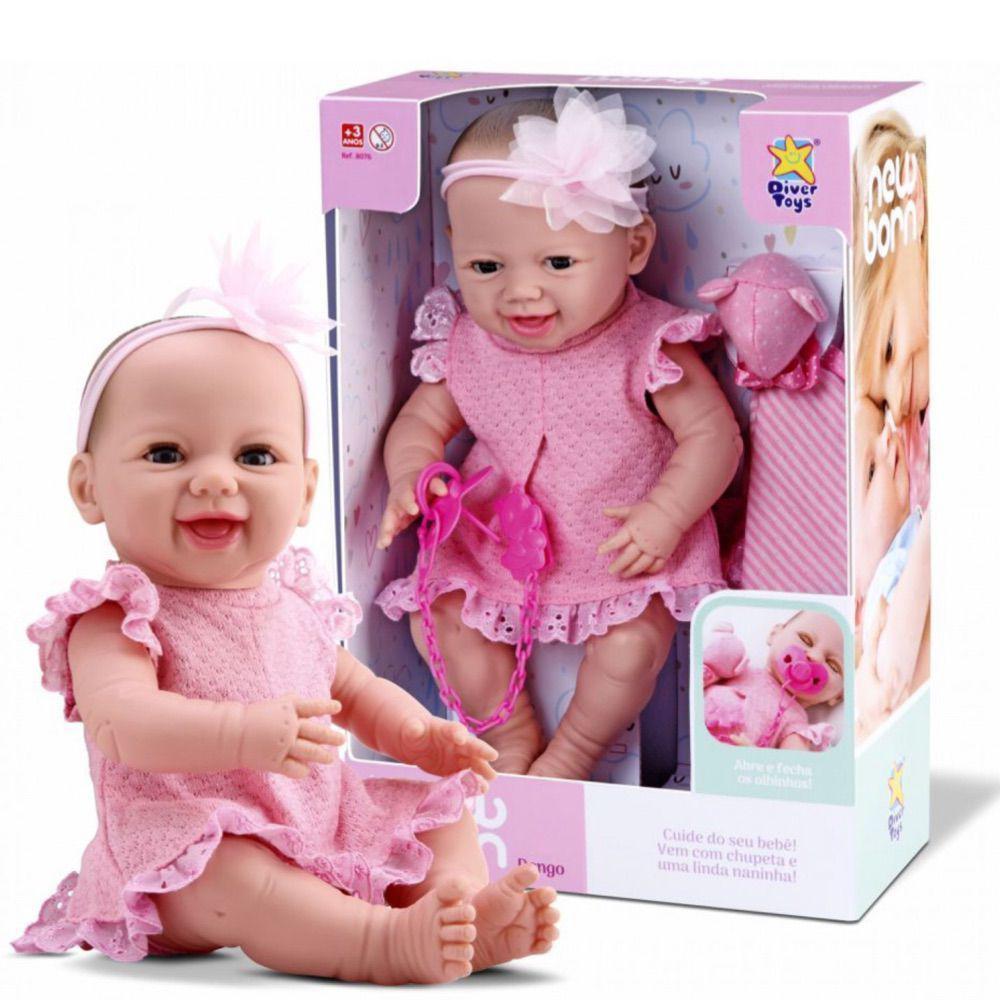 Boneca Bebê New Born Dengo Menina com Acessórios Divertoys ref. 8076