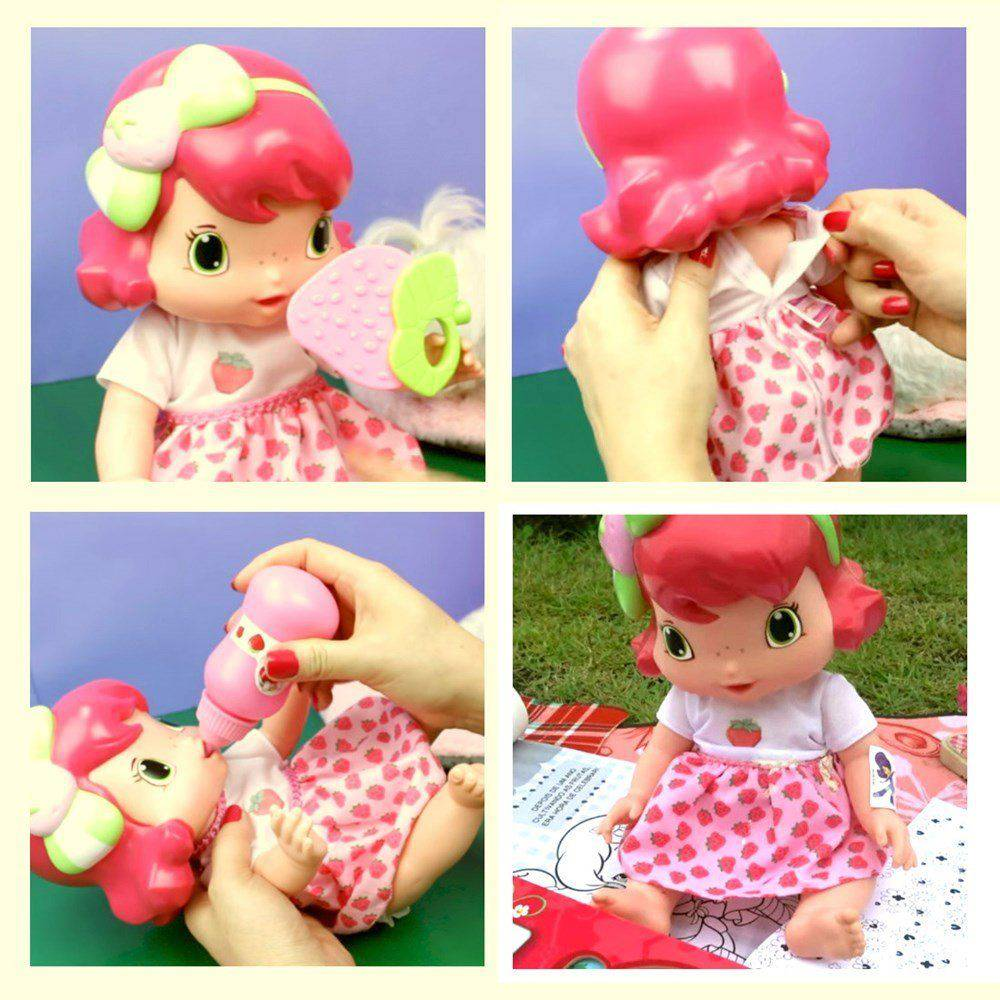 Boneca Moranguinho Baby Faz Xixi c/acessórios 32cm Mimo 4006