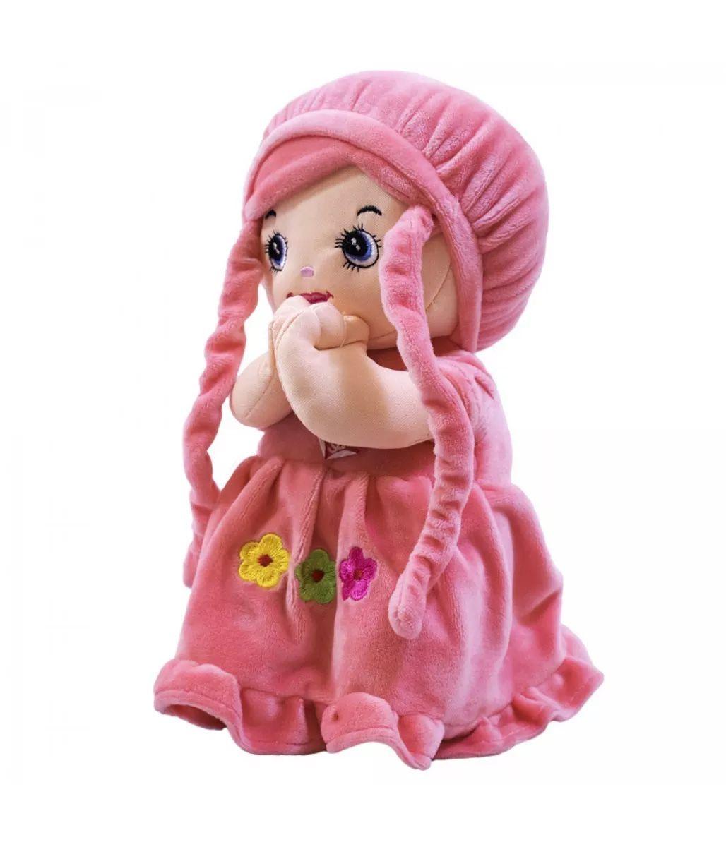 Boneca Pano Menina Reza Pai Nosso Rosa 25cm Fofy Toys BBL1065A