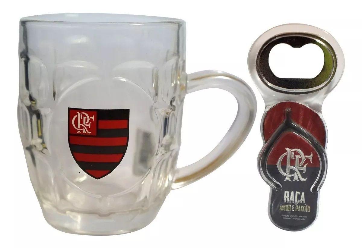 Caneca Vidro Flamengo 310ml G003-5 com Abridor de Garrafas
