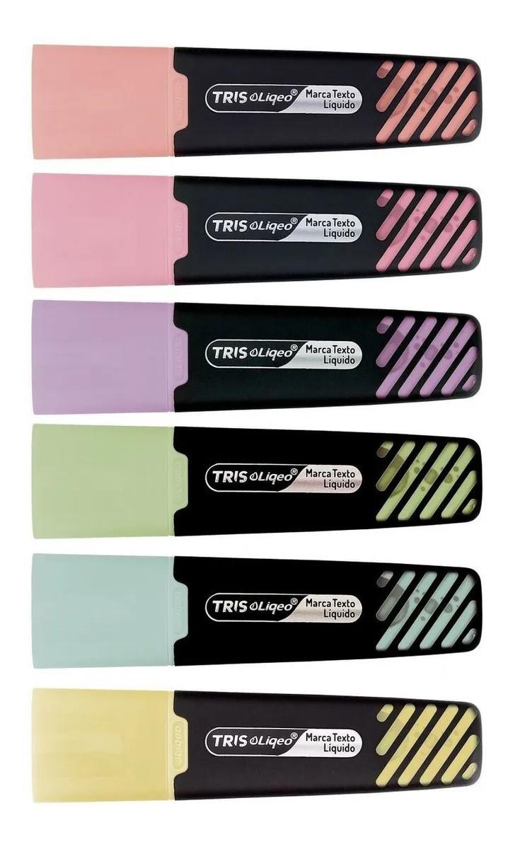 Caneta Marca Texto Liquida 6 cores + Caneta Fina 0.4mm 6 cores + Lápis de Cor 12 cores Tom Pastel Tris (Kit com 24 peças)