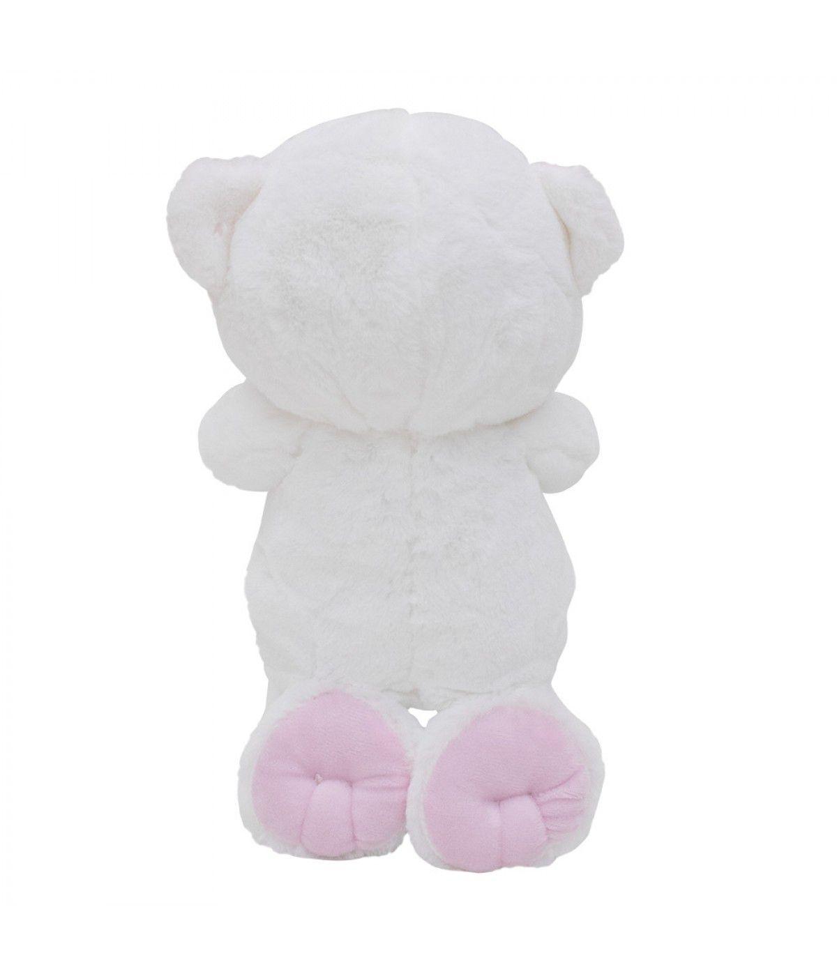 Urso Pelúcia Reza Pai Nosso 28cm Ajoelhado BBL1496-A Laço Rosa