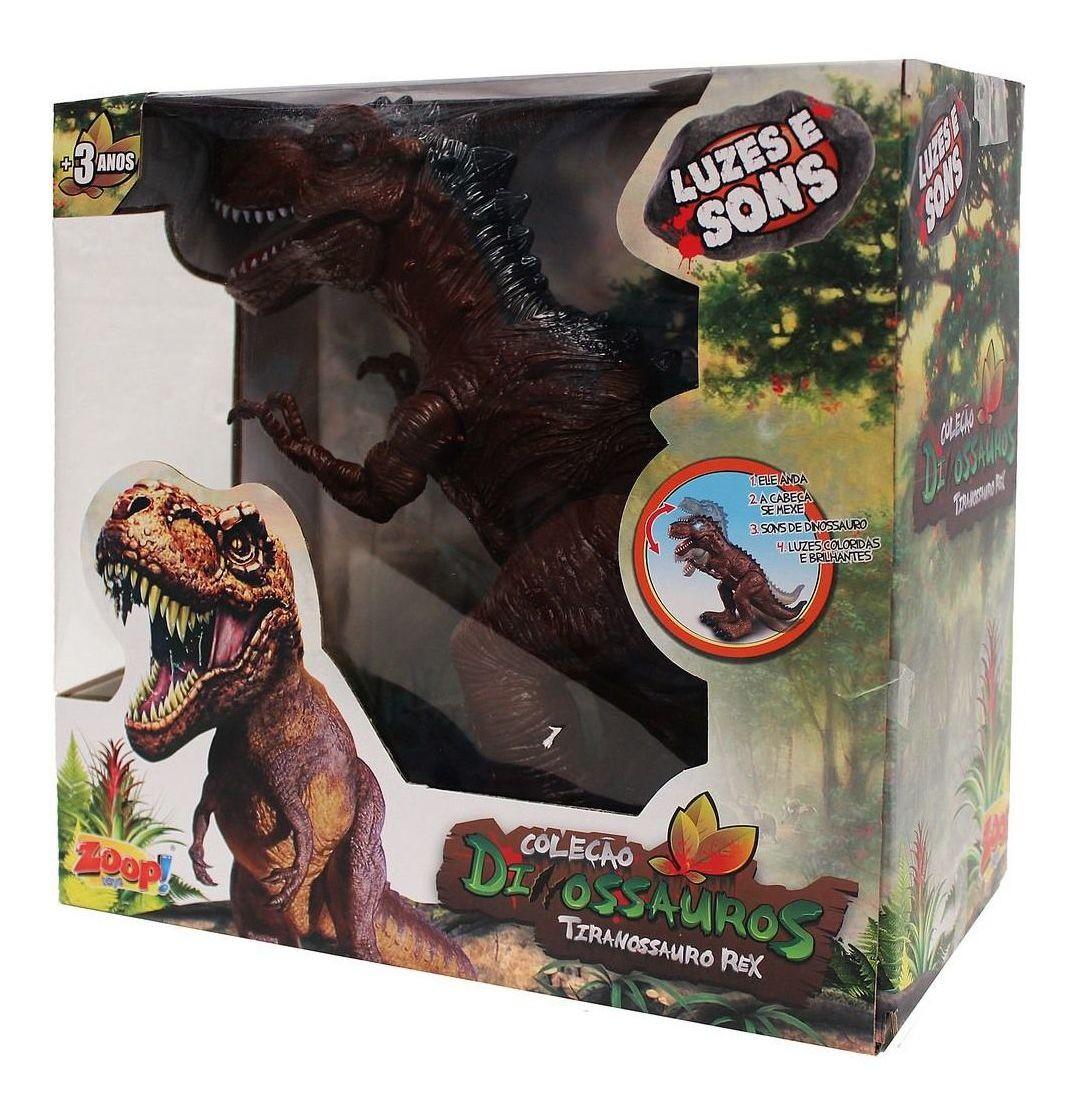 Dinossauro Tiranossauro Rex Som Luz Zoop Toys ZP00164 com 26 cm
