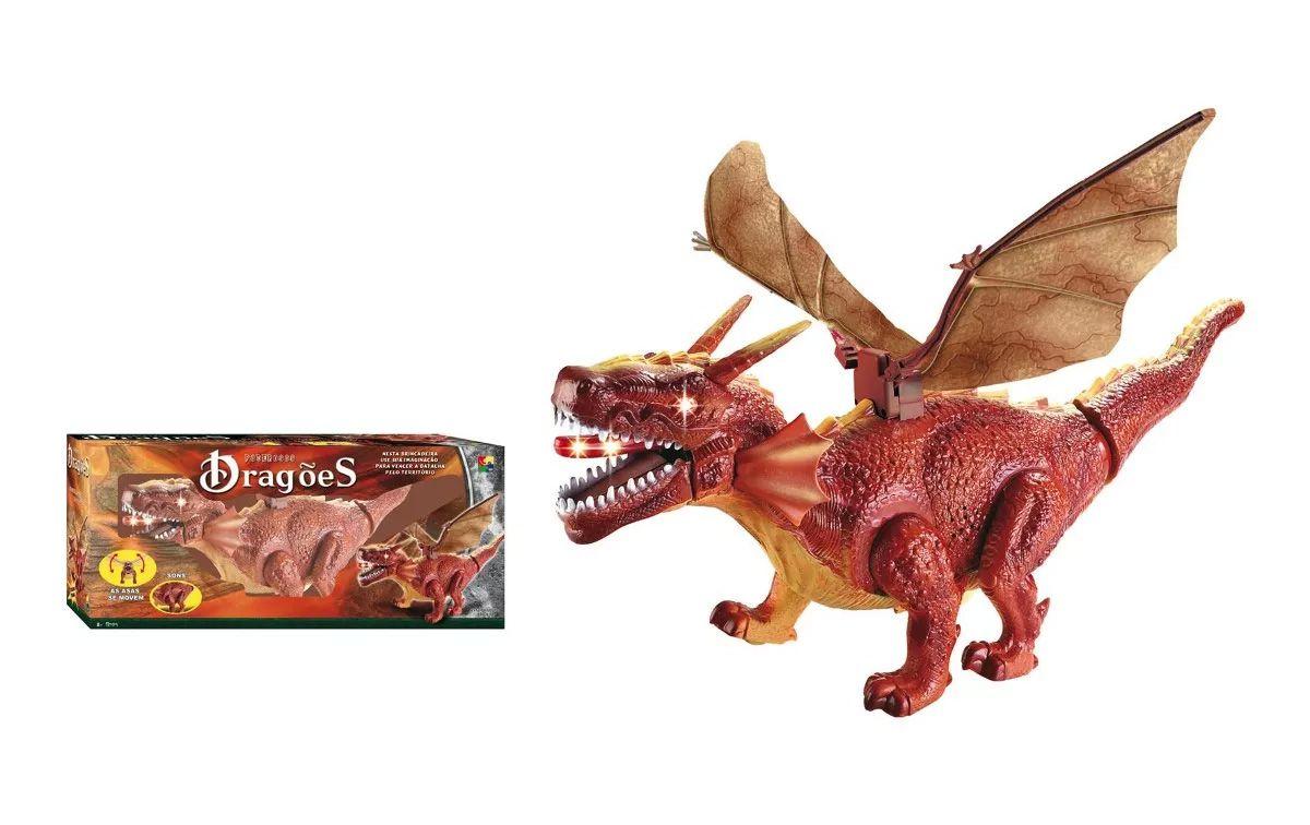 Dragão Poderoso 42cm com Som e Bate Asas CKS CHT59181