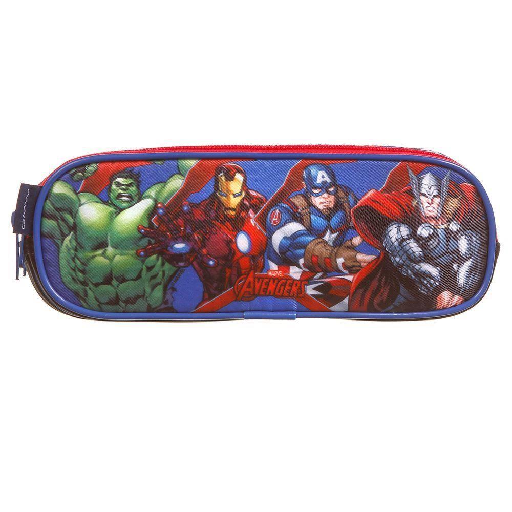 Estojo Vingadores Avengers com 3 repartições DMW 11602